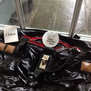 Chloe Bags - Chloe black patent leather bag with red zippers